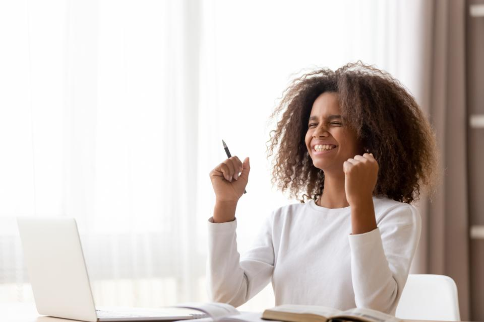 Women Excited Achieving Stretch Goal